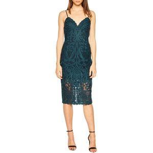 Bardot Gia Green Lace Pencil Midi Dress